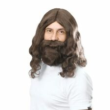 Deluxe Brown Jesus Wig and Beard Set 70s Hippy Holy Fancy Dress