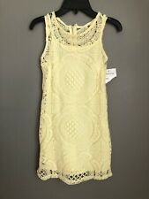New! RARE EDITIONS Girls' Size 8 Slim Fit Yellow Lace Shift Dress Lined Zip Back