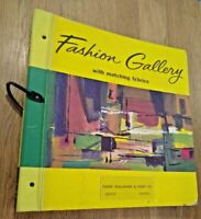 """vtg MCM Fashion Gallery Wallpaper fabric LARGE Sample Book 18.5"""" LEATHER handle"""
