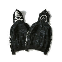 BAPE A BATHING APE Hoodie Sweater Coat Men's Shark Head Skull Full Zip Jacket