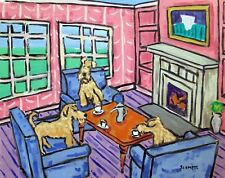Irish Terrier dog art Print poster gift modern folk Jschmetz 11x14 tea time