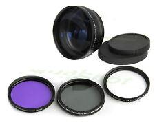52mm Telephoto lens 2X + CPL, UV filter Kit for Canon EOS Rebel T1i T2i T3i