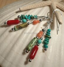 Earrings  Genuine Coral Red Peach & Turquoise Gemstones Sterling Silver 925