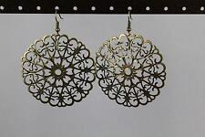 Gold Bronze filigree earrings lace cut out medallion dangle drop french hook Big