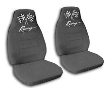front set  CAR SEAT COVERS with racing flag and racing in charcoal
