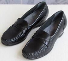 6.5 | Genuine SAS Easier Women Black Leather Tripad Comfort Wedge Pump Loafer