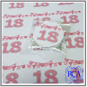 48 x Pink Circle Stickers Birthday Party Designs 18th, 19th, 21st, 30th