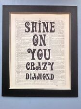 Shine On You Crazy Diamond Pink Floyd Gift Idea Antique Dictionary Page Art#c1