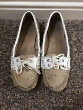 Ladies Sebago Bala Taupe Suede and White Boating Shoes Size  5.5