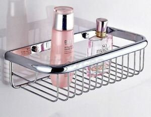 Polished Chrome Wall Mounted Kitchen Bathroom Shower Shelf Storage Basket