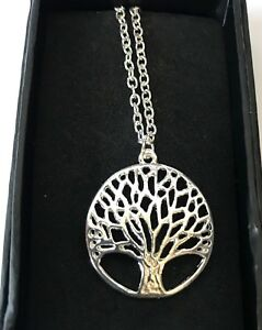 Necklace Life Tree Ladies Metal Silver Colour chain in gift box UK