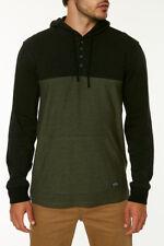 O'Neill LIEV Mens 100% Cotton 4-Button Pullover Hoodie Shirt M Black NEW 2018