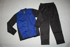 Boys 2 PC TRACK SUIT Jacket & Pants BLACK & BLUE Athletic Set SIZE L 10-12