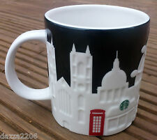 STARBUCKS LONDON UK 2011 BLACK & WHITE RELIEF MUG 16oz/473ml. BRAND NEW.
