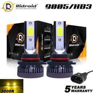 2x Mini 3000K Yellow 9145 9140 LED Headlight Bulbs 120W 26000LM H10 Fog Light
