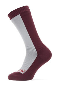 SealSkinz Waterproof Cold Weather Mid Length Socks - Grey / Red - Small 3-5 UK
