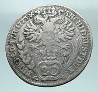 1773 AUSTRIA Queen Maria Theresa Genuine Antique 20 Kreuzer Austrian Coin i81223
