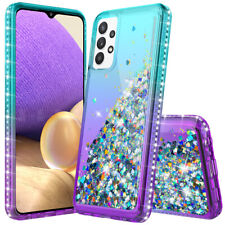 For Samsung Galaxy A12 A32 A52 A20 Bling Rubber Phone Case Cover+Tempered Glass