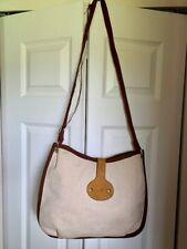 HERMES Authentic Beige Canvas/Leather Shoulder Bag