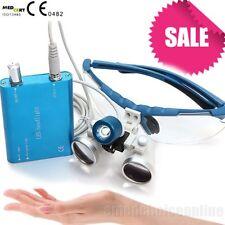 Dental Surgical Medical Binocular Loupes blue color 2.5X 420mm +LED Test Good