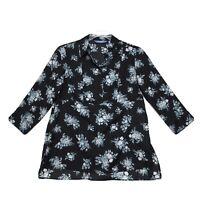 Simply Vera Wang Popover High Low Split Back Blouse Sz M Medium Black Floral
