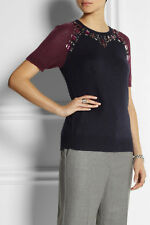 NWT~ J Crew Crystal-embellished knitted sweater top~S~Ret $98