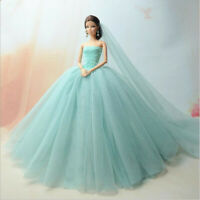 Light Blue Fashion Party Dress/Wedding Clothes/Gown+Veil For 30cm Doll Dresses