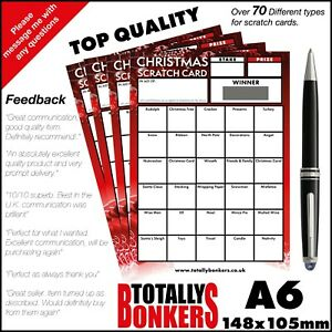 CHRISTMAS FUNDRAISING SCRATCH CARDS - BLIND CARD  - 30 SQUARES - FOOTBALL CARD