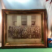 Vtg 30-40's Oak Wood Frame Sepia Group WASH. Portrait Gilbert Cor. 11th Philad'A