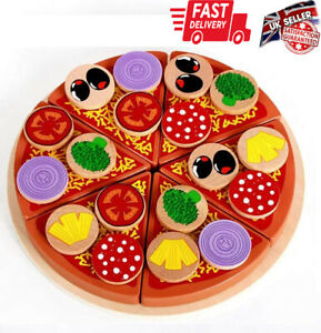 Wooden Simulation Pizza Play Toy Food Cutting Set Kids Role Play Funny Kitchen