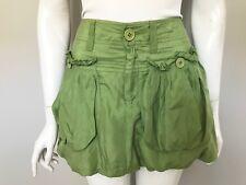 Miss Sixty Green Silk Mini Bubble Skirt M