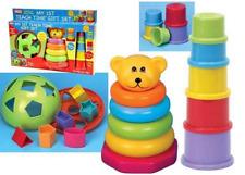 Fun Time My 1st Teach Time Gift Set, Shape sorter, bear & cups stacker 6+ months