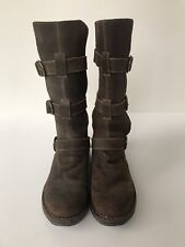 FIORENTINI + BAKER Size Eu 36/US 6 Womens Boots Suede Brown 3 Strap Boots
