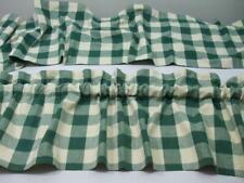 "2 Green White 100% Cotton Large Check Rod Pocket Balloon Valance 72"" W x 15"" L"