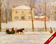 MONTREAL CANADA WINTER SCENE HORSEDRAWN SLEIGH PAINTING ART REAL CANVAS PRINT