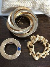 Vintage Pin Brooches Lot Of 3 Gold Wreath Blue Rhinestone