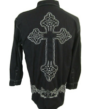 Brooklyn Express Men shirt black long sleeve pit to pit 23 M embroidered Cross