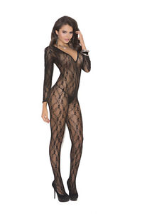 Deep V Long Sleeve Bodystocking with Open Crotch! One Size! Adult Woman Clothing