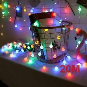 200LED Lichterkette Kugel Lichterkette Außen Bunt Party Garten Beleuchtung 20M