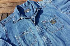 Vtg LUCKY BRAND Dungarees Chore Work Jacket Shirt M Distressed Denim Jean USA