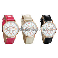 Women Leather Watch Ladies Girls Band Roman Numerals Analog Quartz Wristwatch