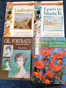 Learn to Paint LANDSCAPES, SKETCH, FLOWERS, PORTRAITS,  x4 Art Books bundle
