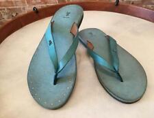 Frye Turquoise Blue Leather Azalea Logo Flip Flops Sandals 7  New
