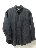 Men's Bachrach Long Sleeve Button Up Dress Shirt Black Charcoal Gray Size L EUC