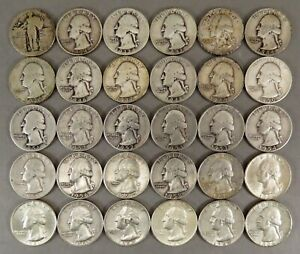 1 SILVER LIBERTY 29 WASHINTON SILVER QUARTERS 25C MIX DATES MIX GRADES 1934-1964