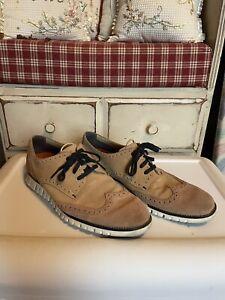 Cole Haan ZEROGRAND Suede Wingtip Oxford Men's Shoes, Size 10.5 Tan Beige