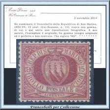 1894 San Marino c. 15 carminio bruno n. 15 Centrato Cert. Diena Nuovo Integro **