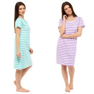 NEW Ladies 100% Cotton Jersey Nightshirt/Nightdress 'Green or Purple Stripe