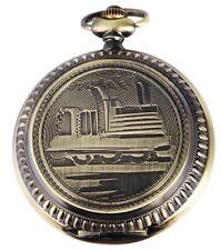 Orologio Da Tasca Bianco Bronzo Ferrovia Locomotiva a vapore I-180352000058575