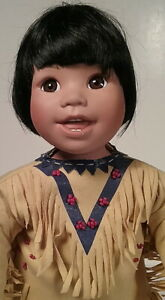 Little Bear Dancer Native American Indian Boy Porcelain Doll Danbury Mint 1994